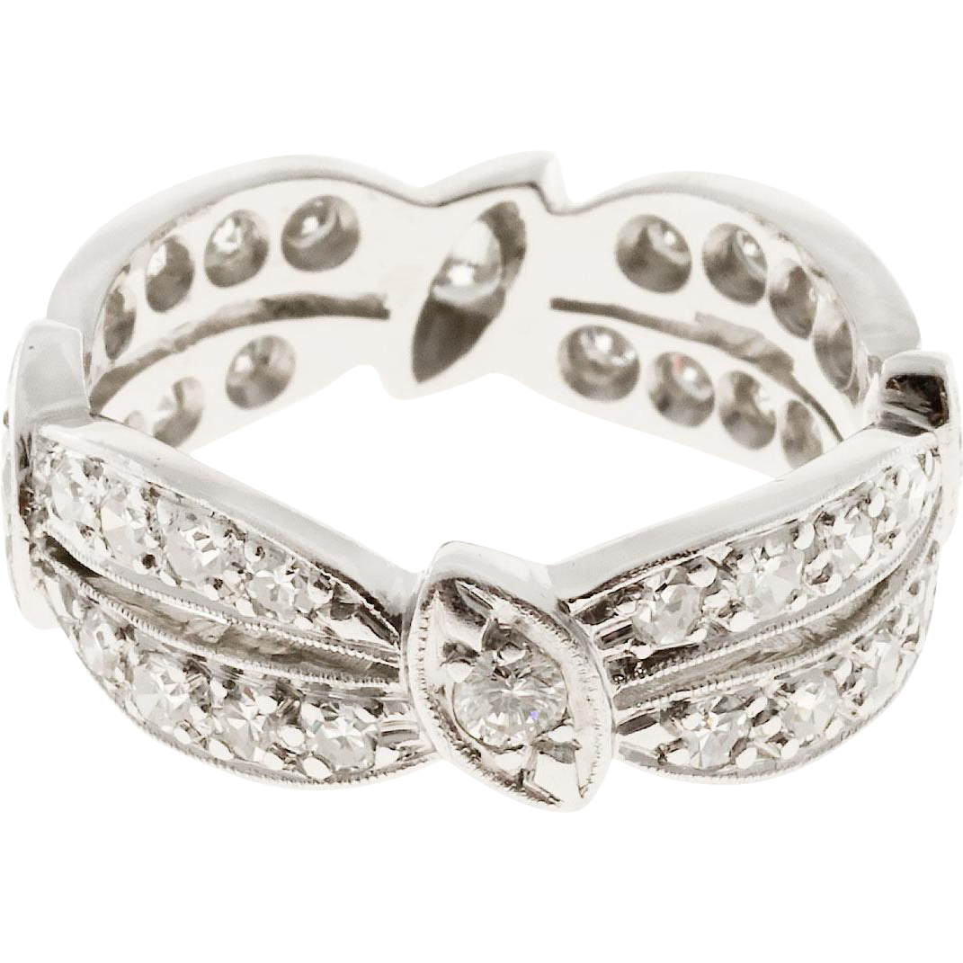 Diamond Double Swirl 2 Row Platinum Eternity Band Ring