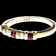 Red Ruby Diamond 14 Karat Yellow Gold Wedding Band Ring