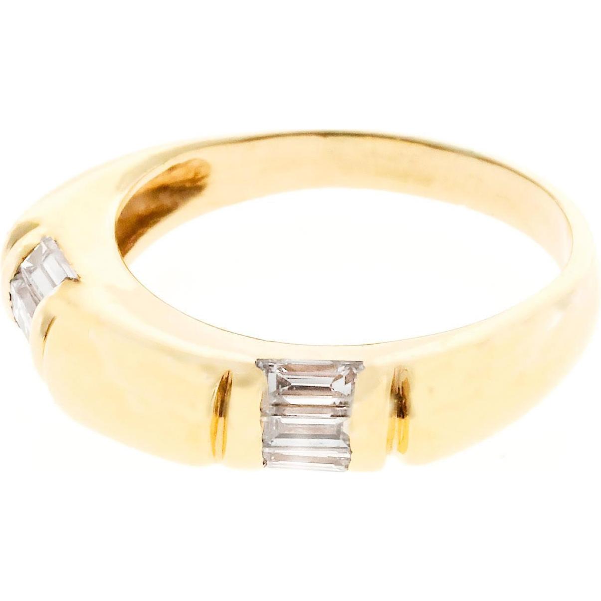 Diamond Emerald Baguette Cut 14 Karat Gold Band Ring