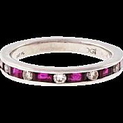 Ruby Diamond Platinum Wedding Band Ring
