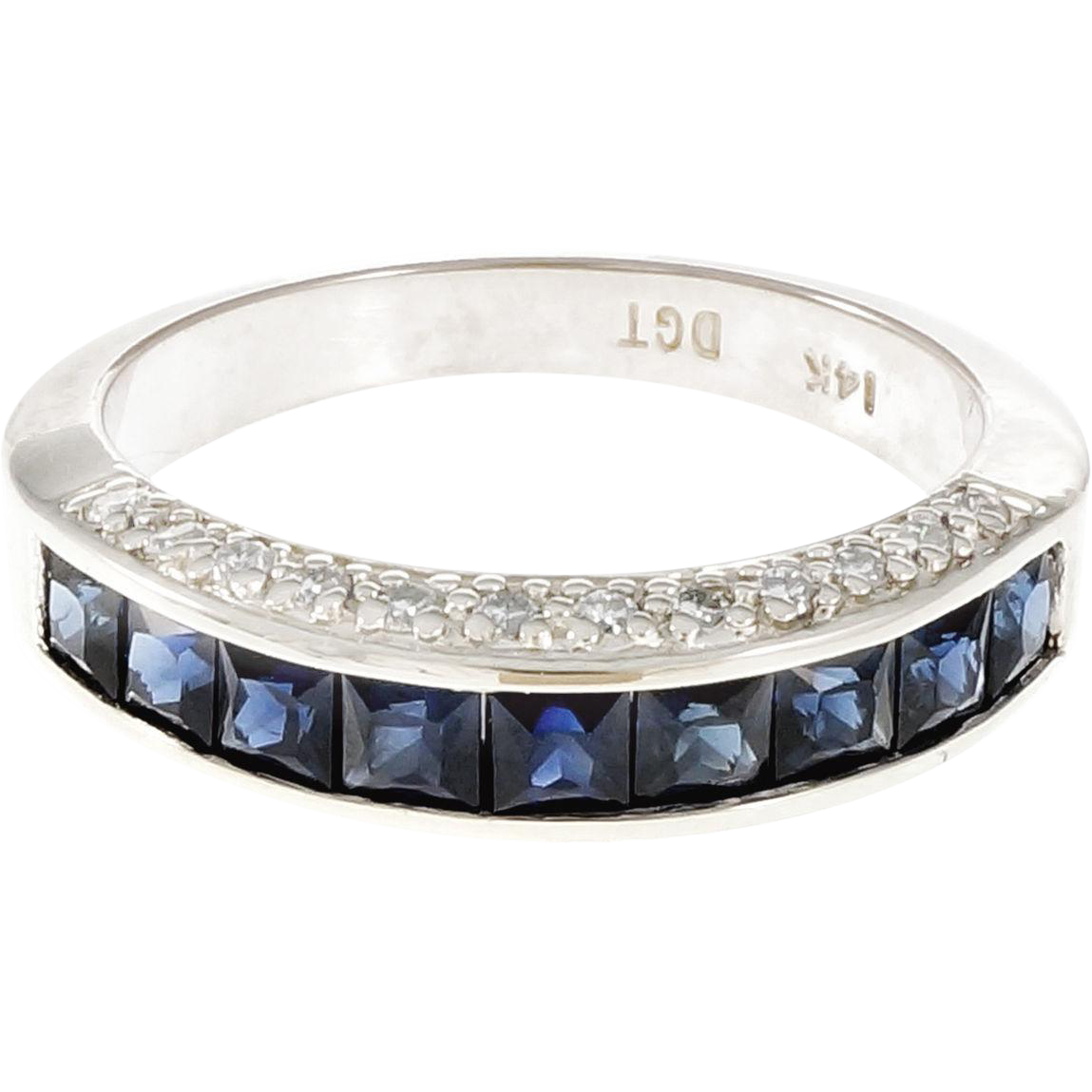 Square French Cut Sapphire 14 Karat  White Gold Diamond Wedding Band Ring