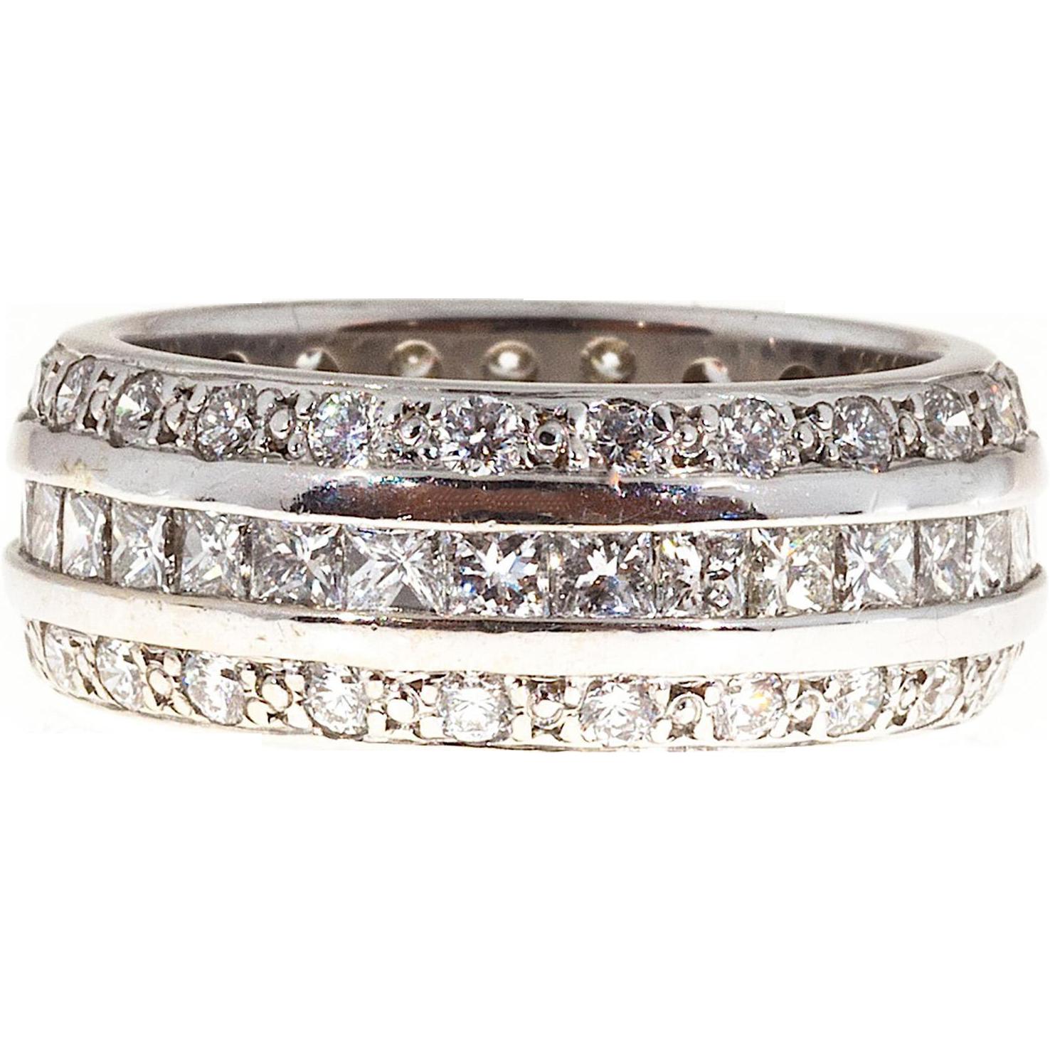3 Row Diamond Princess Round Cut 14k White Gold Band Ring
