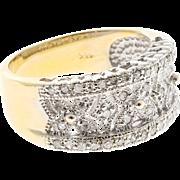 Pave Diamond Pierced 14 Karat White Gold Band Ring