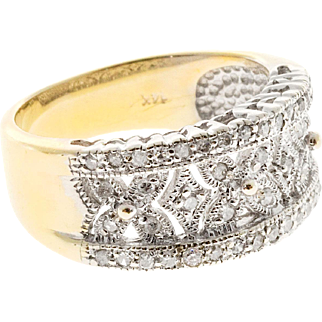 Pave Diamond Pierced 14 Karat White Gold Band Ring