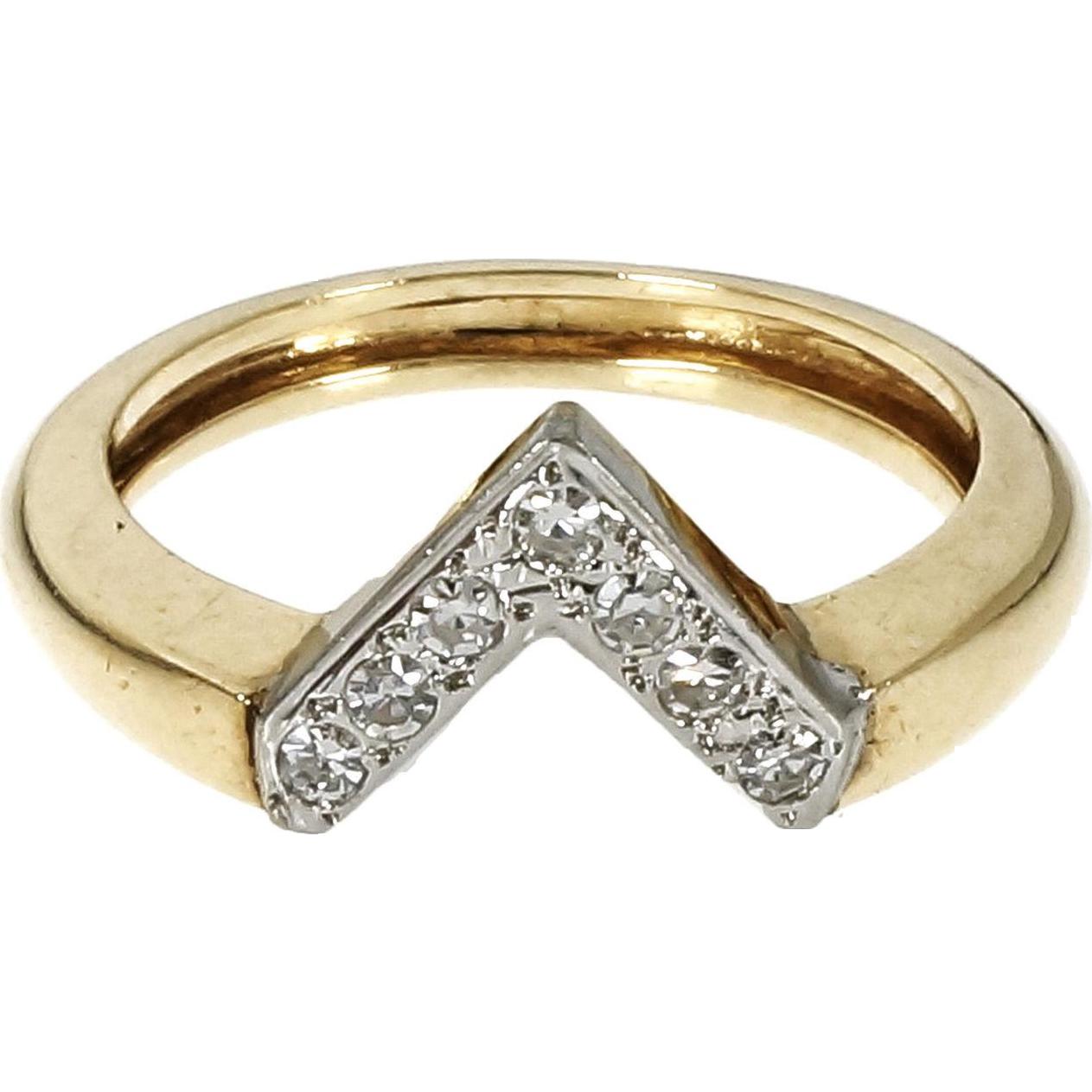 "Vintage 1950 ""V"" Shape Diamond 14 Karat Yellow White Gold Ring"