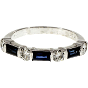 Sapphire Baguette Round Diamond Platinum Wedding Band Ring