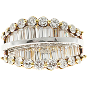 Diamond Round Baguette 18 Karat Yellow White Gold Cocktail Ring