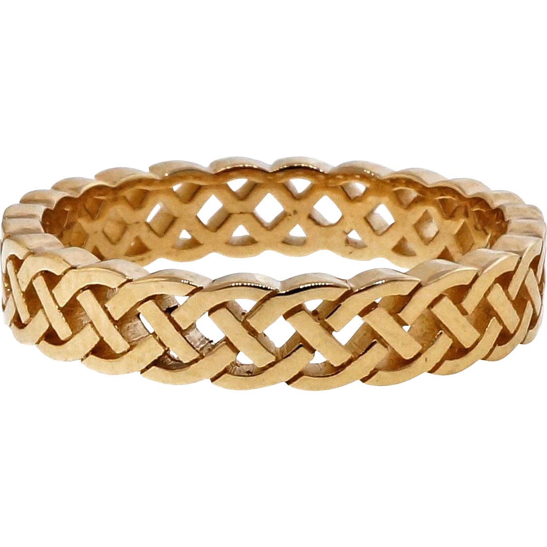 Celtic Woven Open Cut Out 14 Karat Yellow Gold Wedding Band Ring