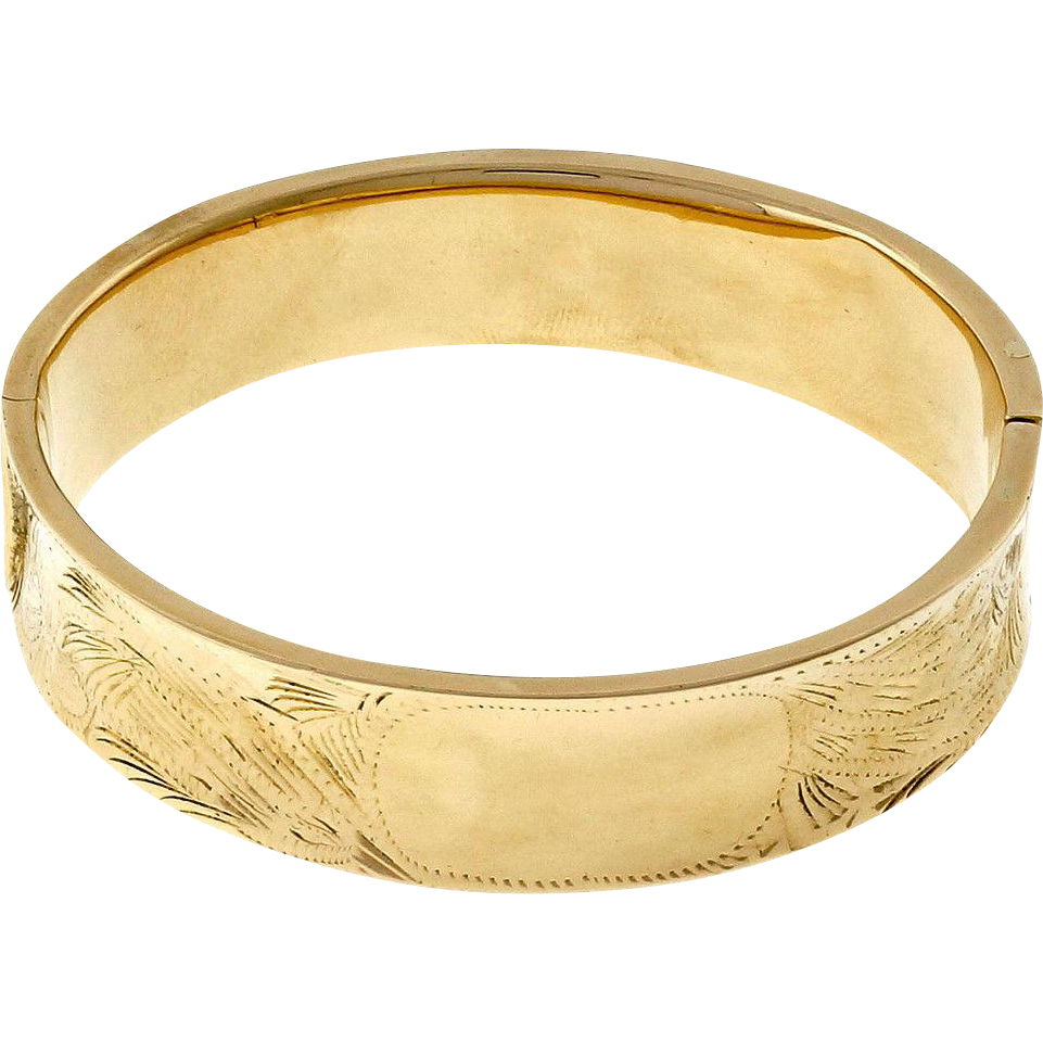 1960s Wide Engraved 14k Yellow Gold Bangle Bracelet