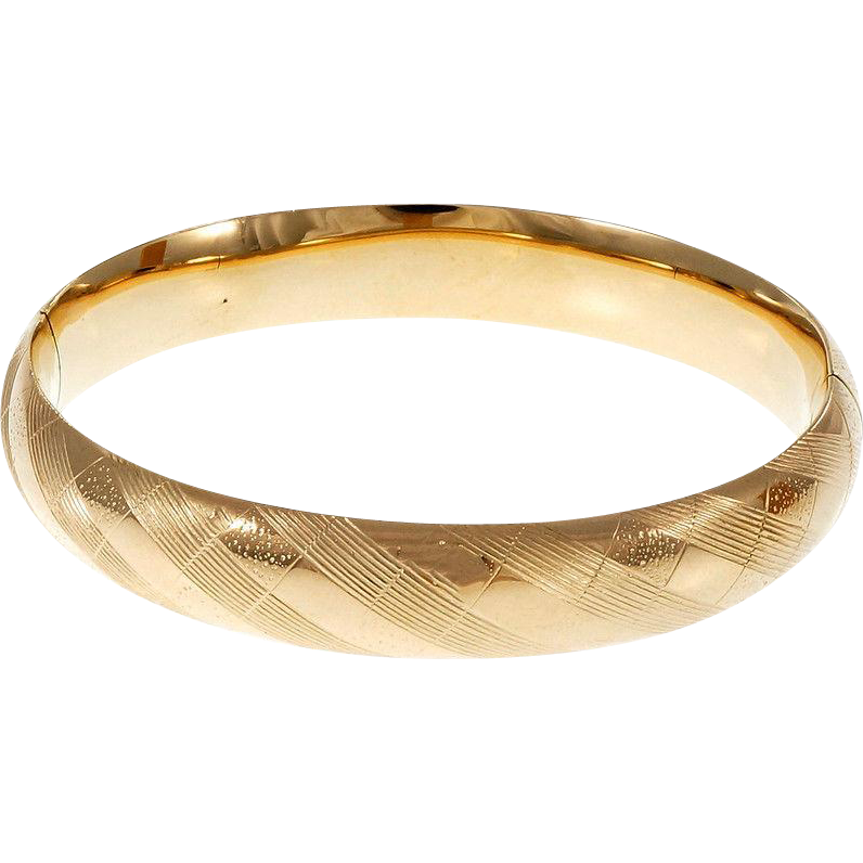Hinged Domed 14 Karat Yellow Gold Bangle Bracelet