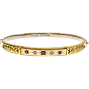 Victorian 1890 Ruby Diamond Yellow Gold Bangle Bracelet