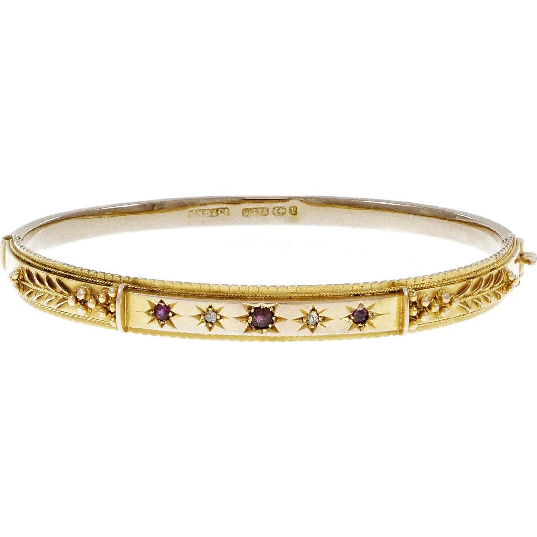 Victorian 1890 Ruby Diamond Yellow Gold Bangle Bracelet