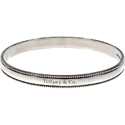 Tiffany & Co Sterling Silver Milgrain Edge Bangle Bracelet B