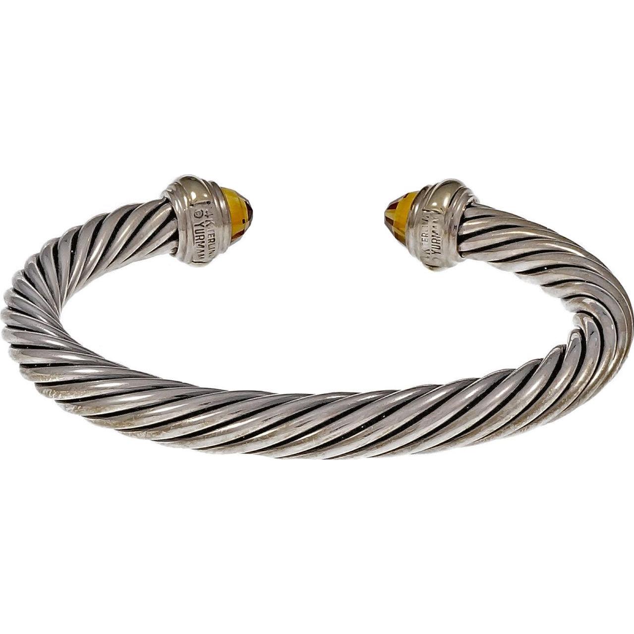 David Yurman 14 Karat Yellow Gold Sterling Silver Citrine Cable Bangle Bracelet
