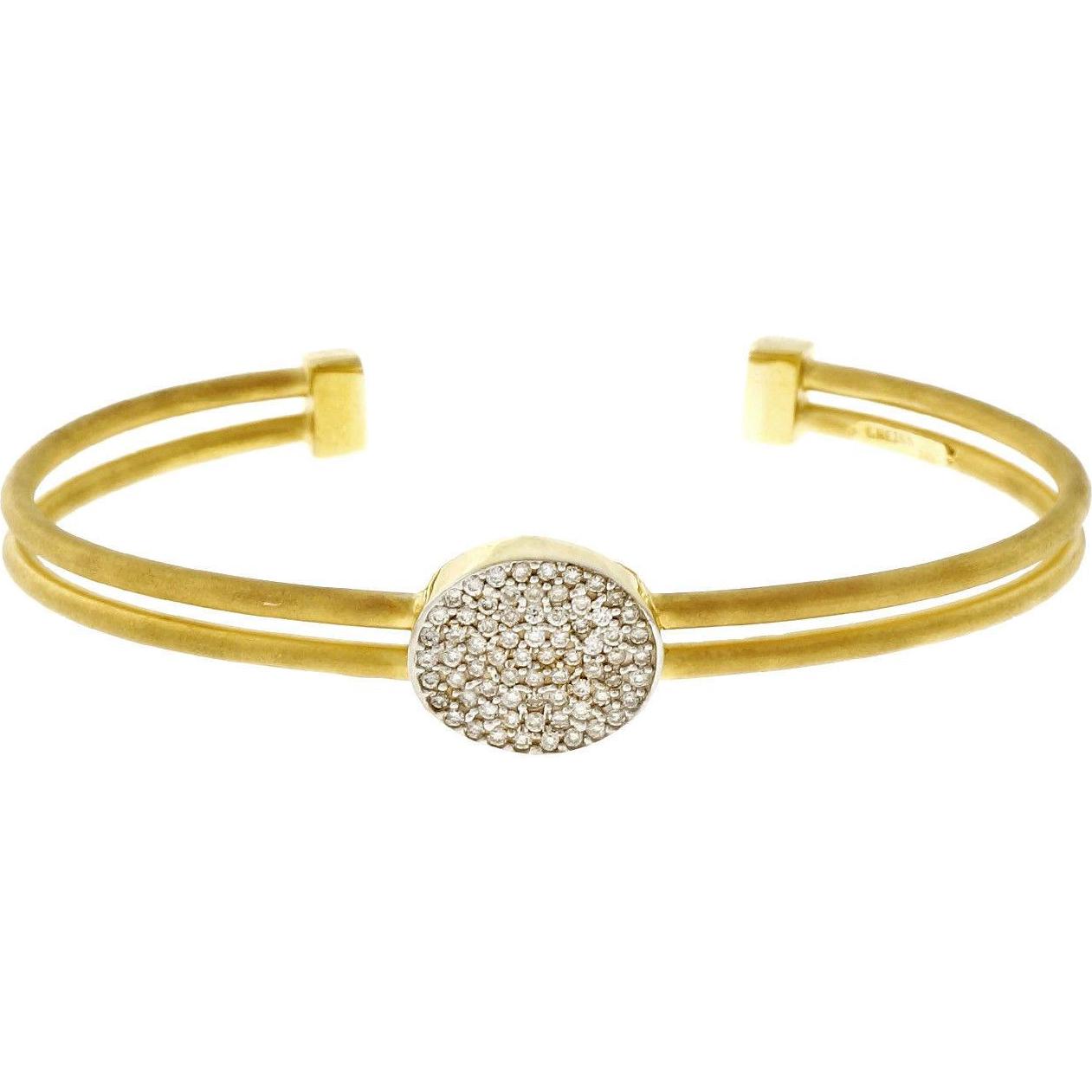 Isaac Reiss Diamond 14 Karat Yellow Gold Slip On Bangle Bracelet