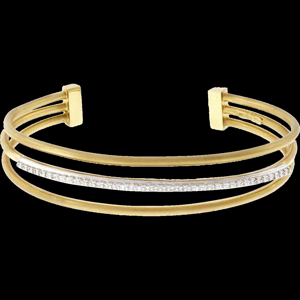 Isaac Reiss Diamond 14 Karat Yellow White Gold Three Row Slip On Bangle Bracelet