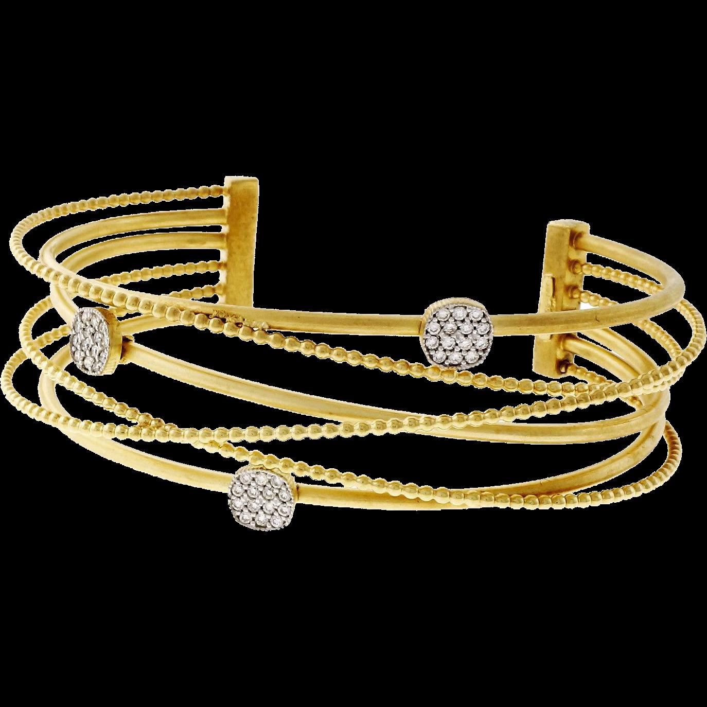 Isaac Reiss Diamond 14 Karat Yellow Gold Six Row Bangle Bracelet