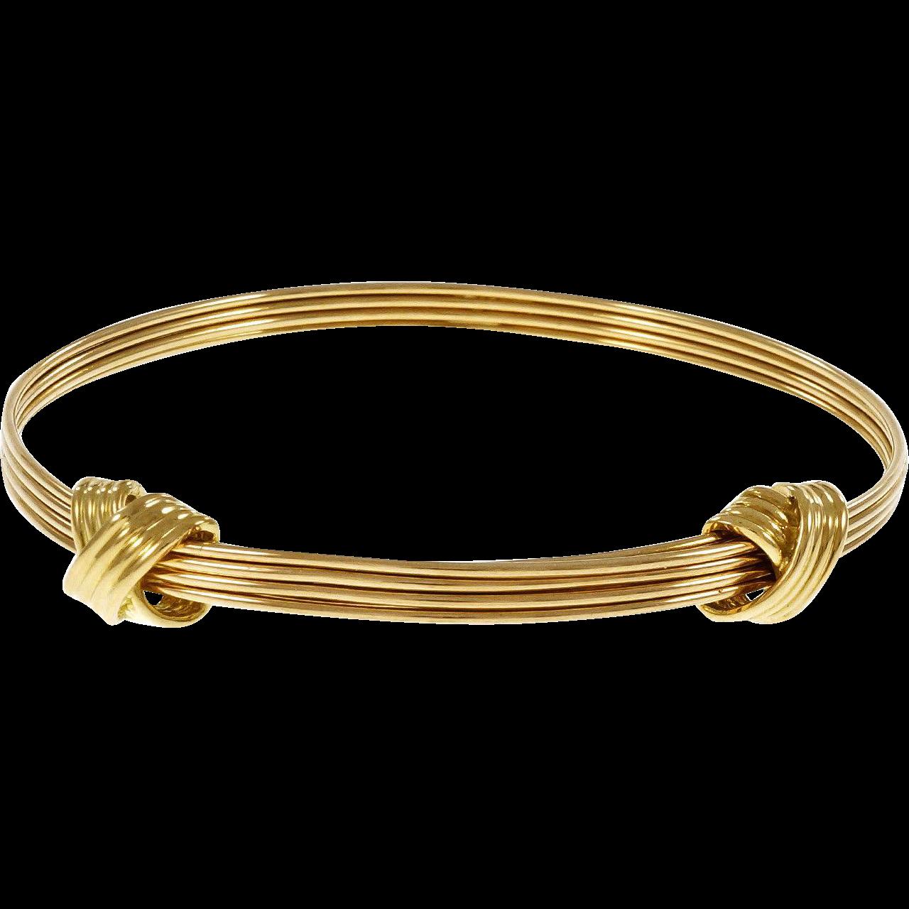 Asprey Knot Design Adjustable 18 Karat Yellow Gold Bangle Bracelet