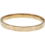 Krementz Engraved 14 Karat Rose Gold Bangle Bracelet