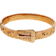 Art Deco 14 Karat Rose Gold Buckle Hinged Bangle Bracelet
