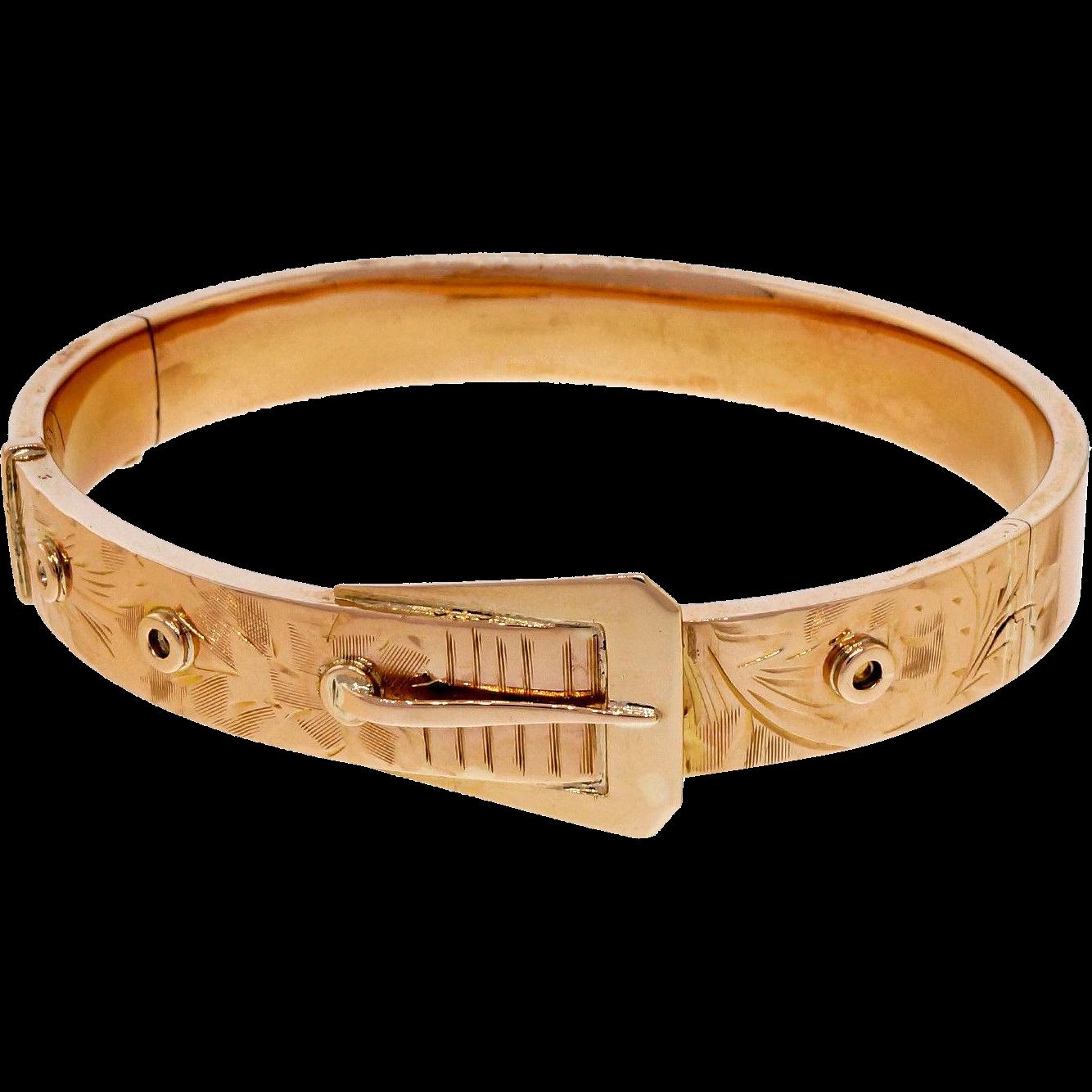 Art Deco 14 Karat Rose Gold Buckle Hinged Bangle Bracelet
