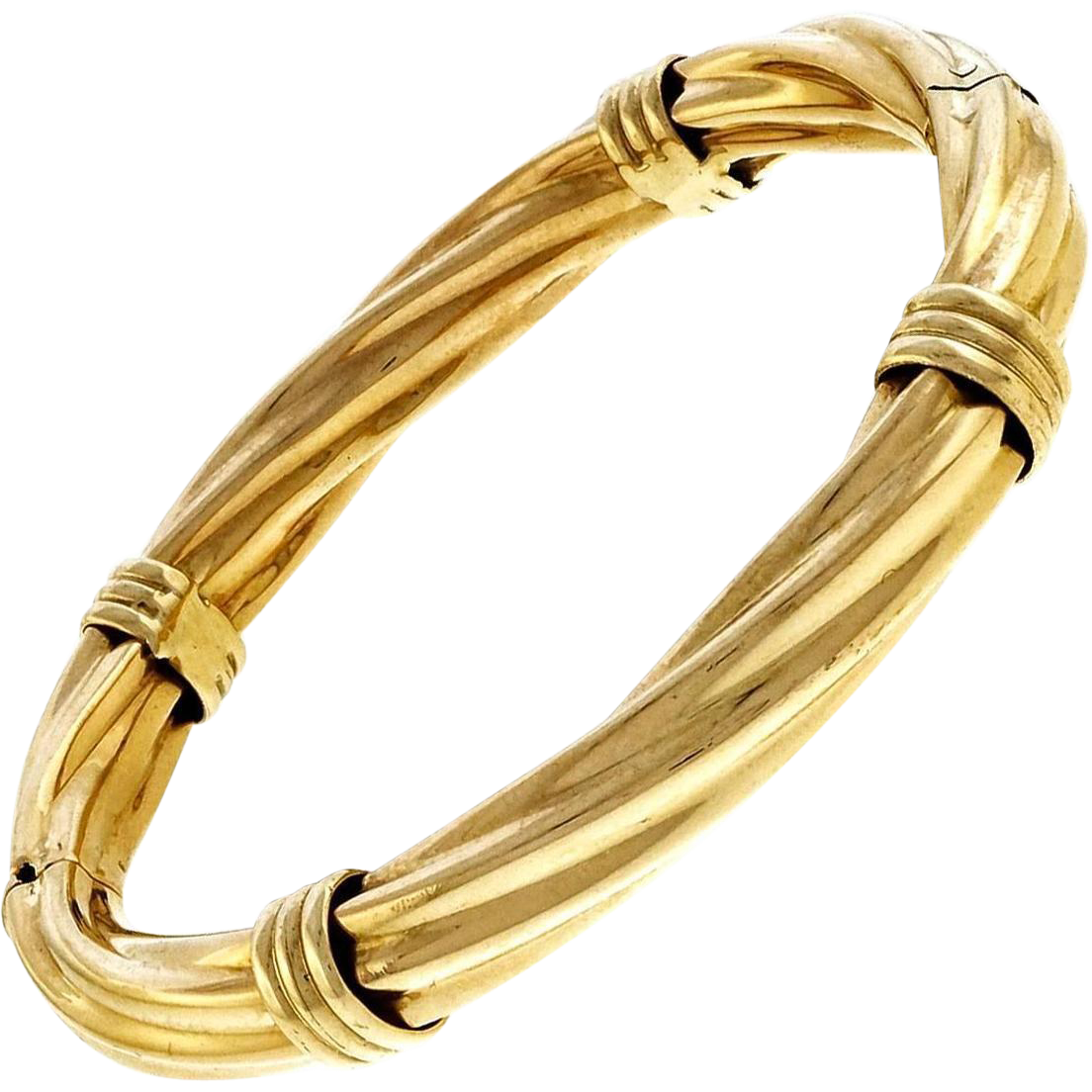 Vintage 18 Karat Yellow Gold Wide Hinged Twist Bangle Bracelet