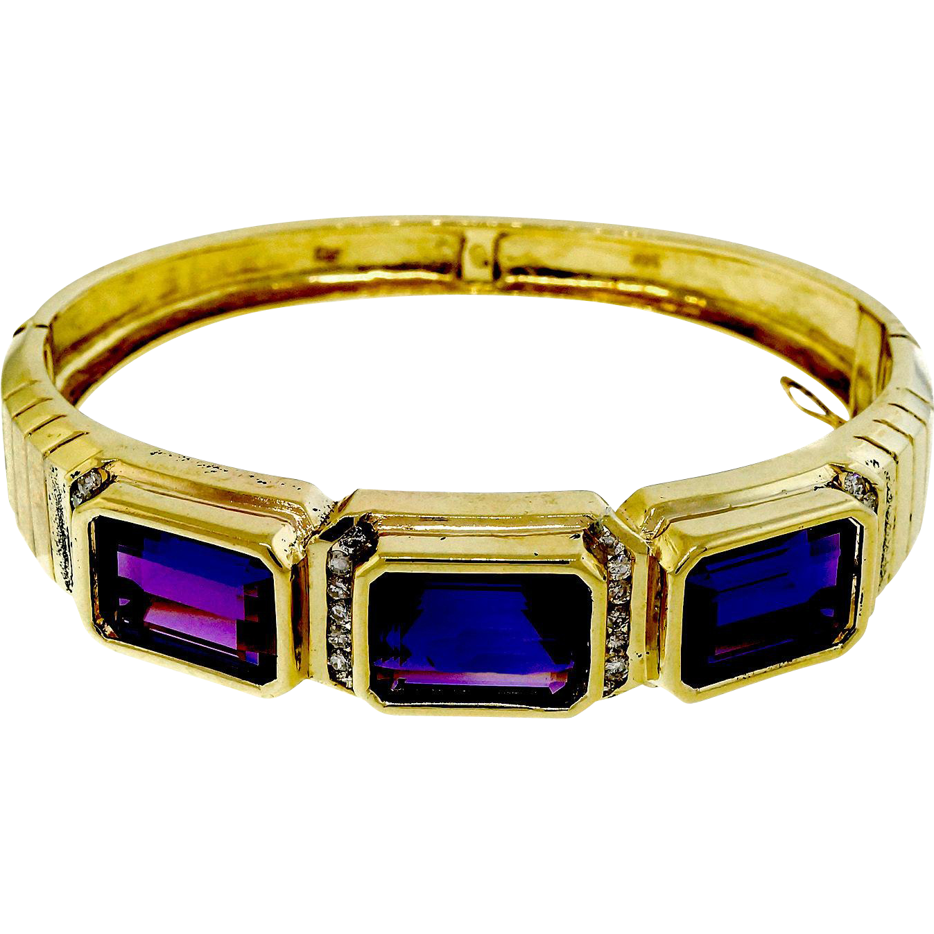 Vintage Amethyst Diamond 14 Karat Yellow Gold Bangle Bracelet