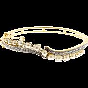 Akoya Cultured Pearl Diamond 14 Karat Yellow White Gold Bangle Bracelet