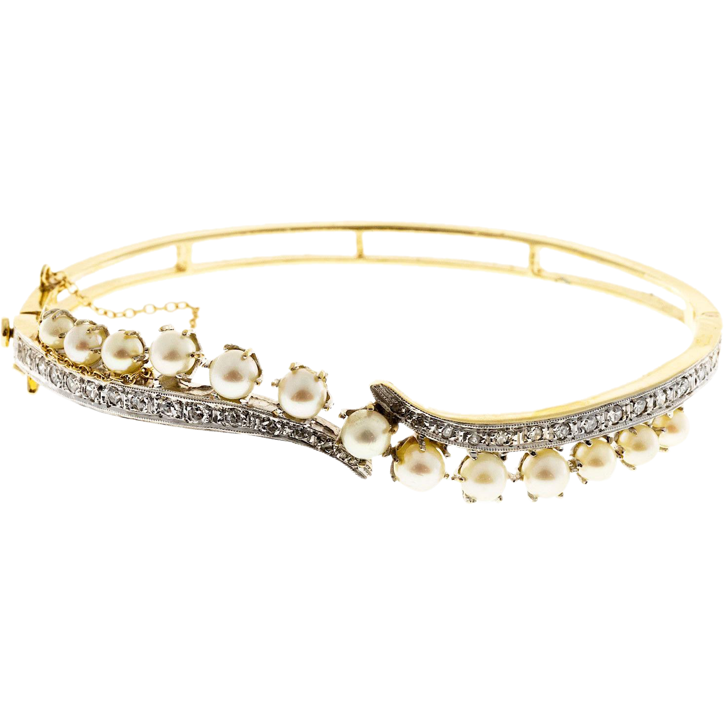 Akoya Cultured Pearl Diamond 14 Karat Yellow White Gold Bangle Bracelet