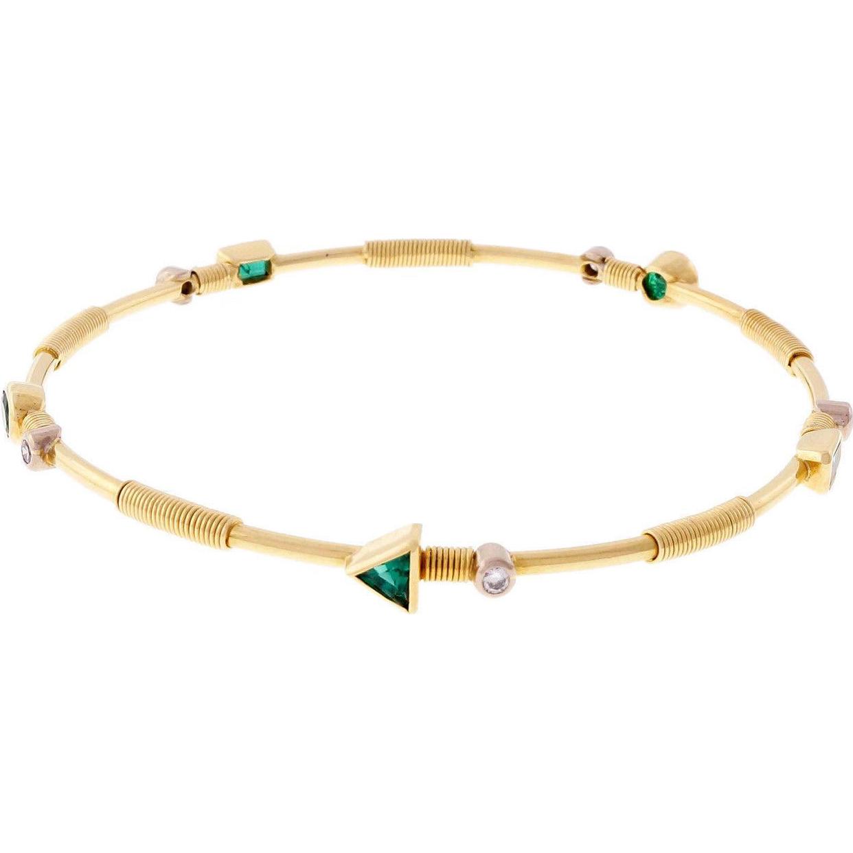 Emerald Diamond 18 Karat Yellow Gold Slip On Bangle Bracelet