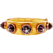 Victorian Garnet Diamond 18 Karat Yellow Gold Hinged Bangle Bracelet