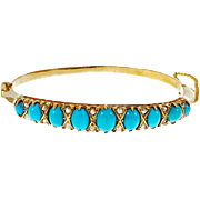 Victorian Natural Persian Turquoise Diamond 14 Karat Yellow Gold Bangle Bracelet