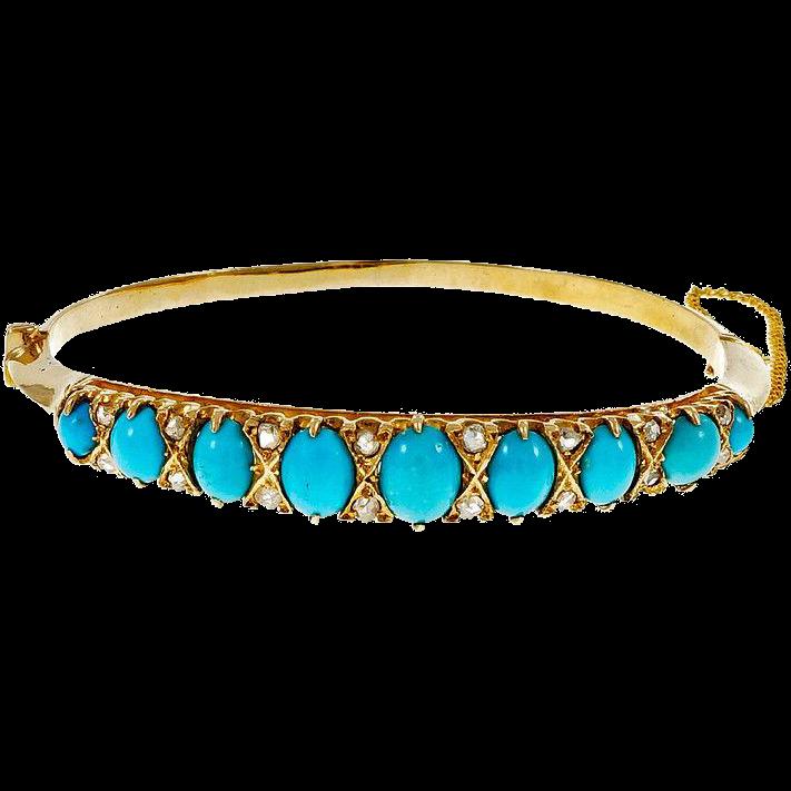 Victorian Natural Persian Turquoise Diamond 14 Karat Yellow Gold Bangle Bracelet