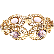 Oval Amethyst 18 Karat Yellow Gold 1950s Hinged Bracelet