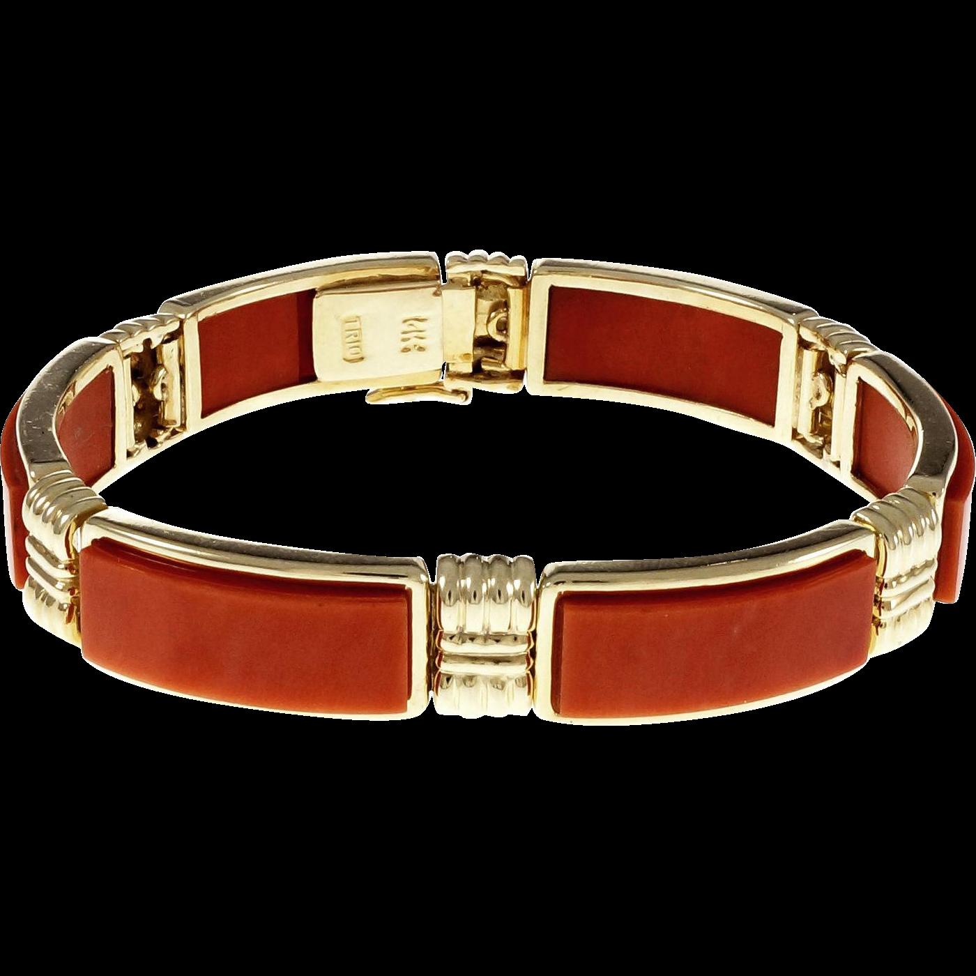GIA Certified Coral 14 Karat Yellow Gold Bracelet