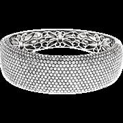 Pavé Cubic Zirconia Sterling Silver Bangle Bracelet