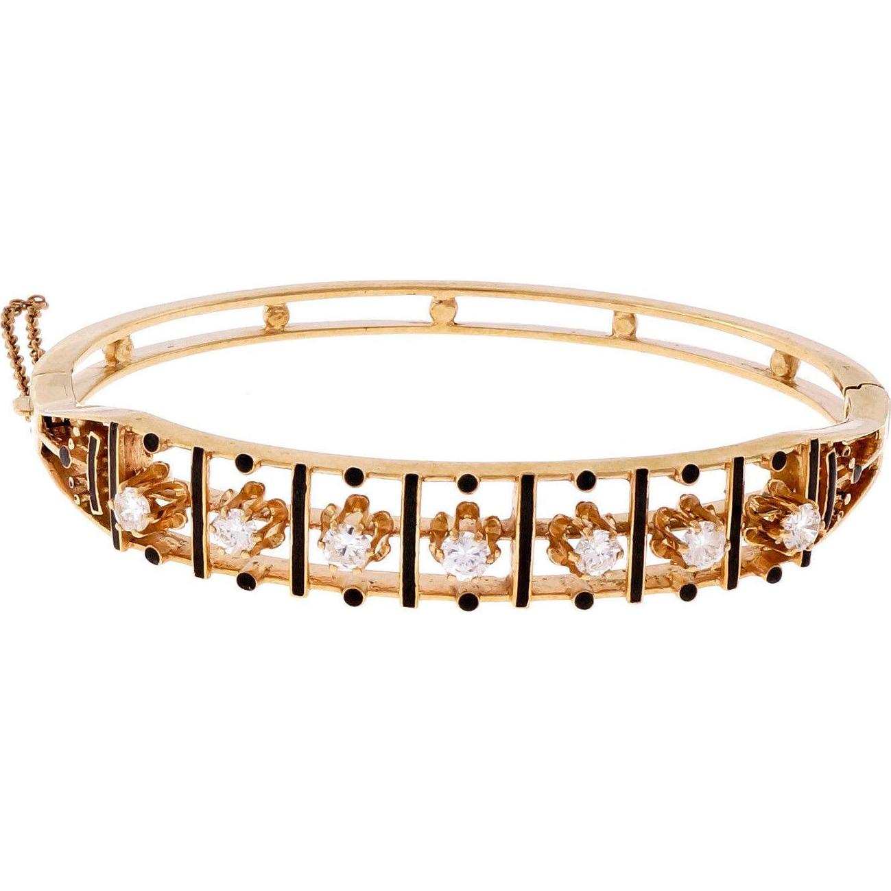 Vintage Diamond 14 Karat Yellow Gold Black Enamel Bangle Bracelet