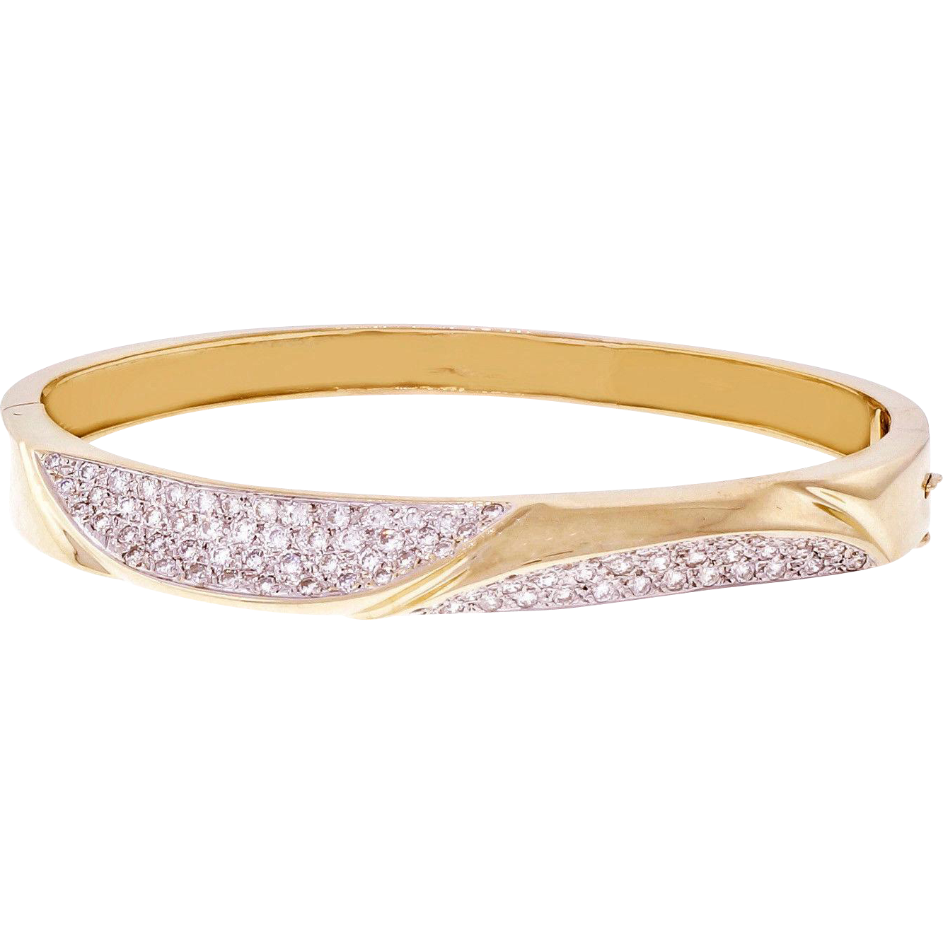 Pavé Diamond 14 Karat Yellow Gold Large Bangle Bracelet