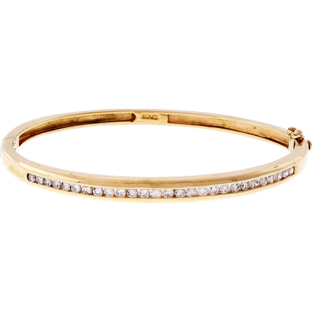 14k Yellow Gold Channel Set Diamond Bangle Bracelet
