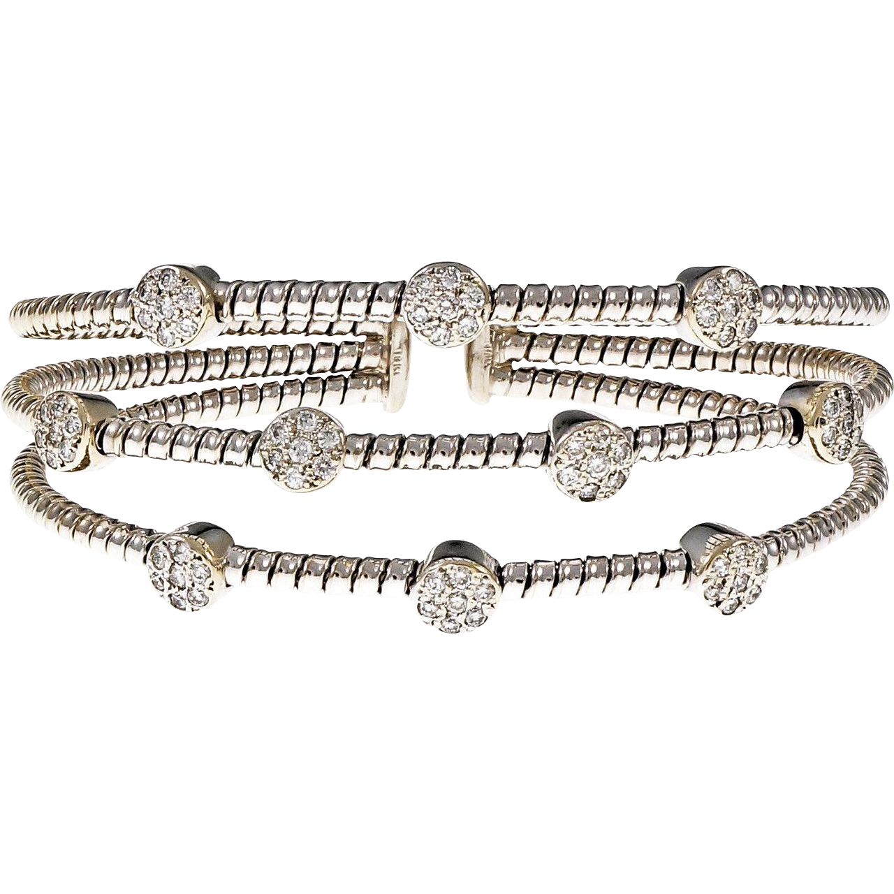 Diamond 3 Row Diamond 18 Karat White Gold Bangle Bracelet