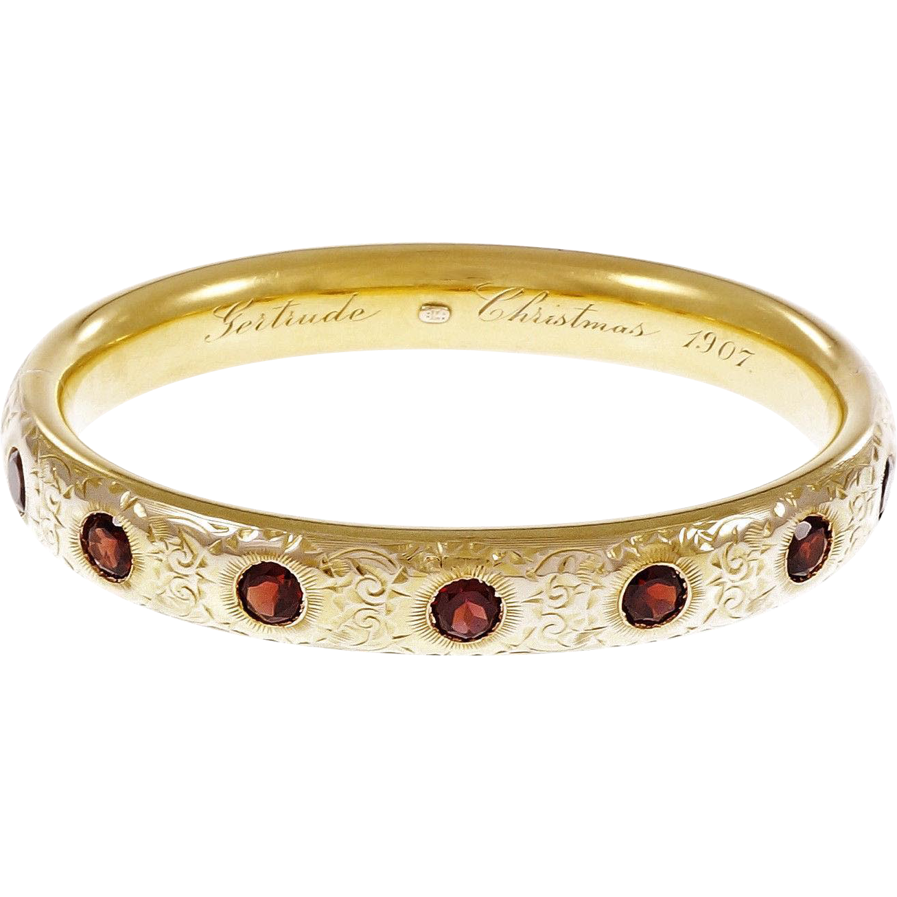 Victorian Garnet Hand Engraved 18 Karat Yellow Gold Bangle Bracelet