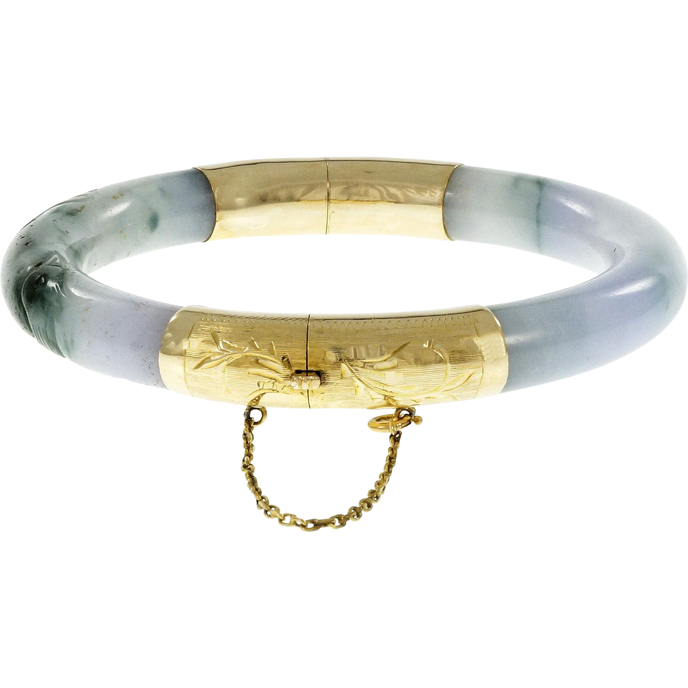 GIA Certified Natural Purple Green Jadeite Jade 14 Karat Yellow Gold Bangle Bracelet