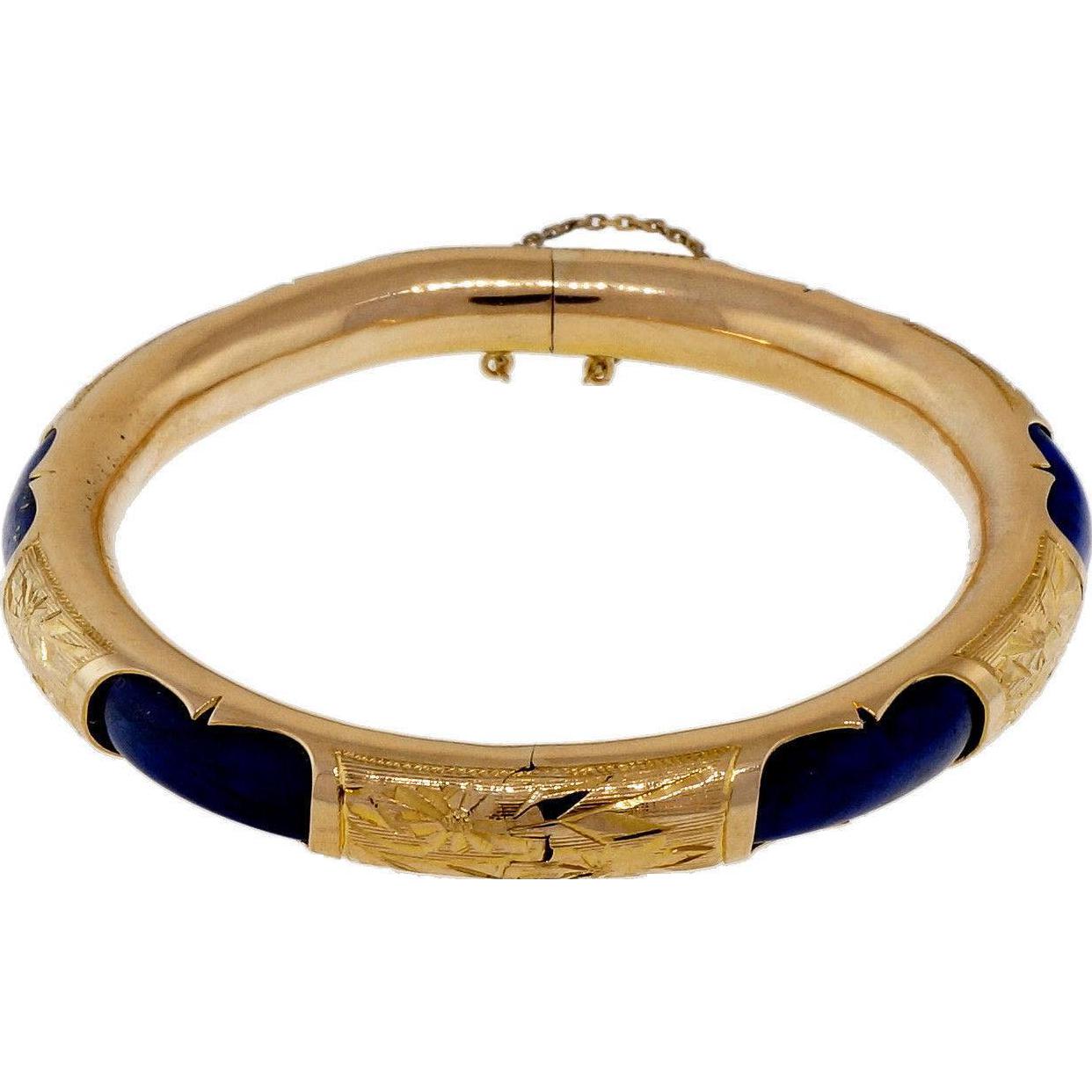 Vintage Natural Blue Lapis 14 Karat Yellow Gold Bangle Bracelet