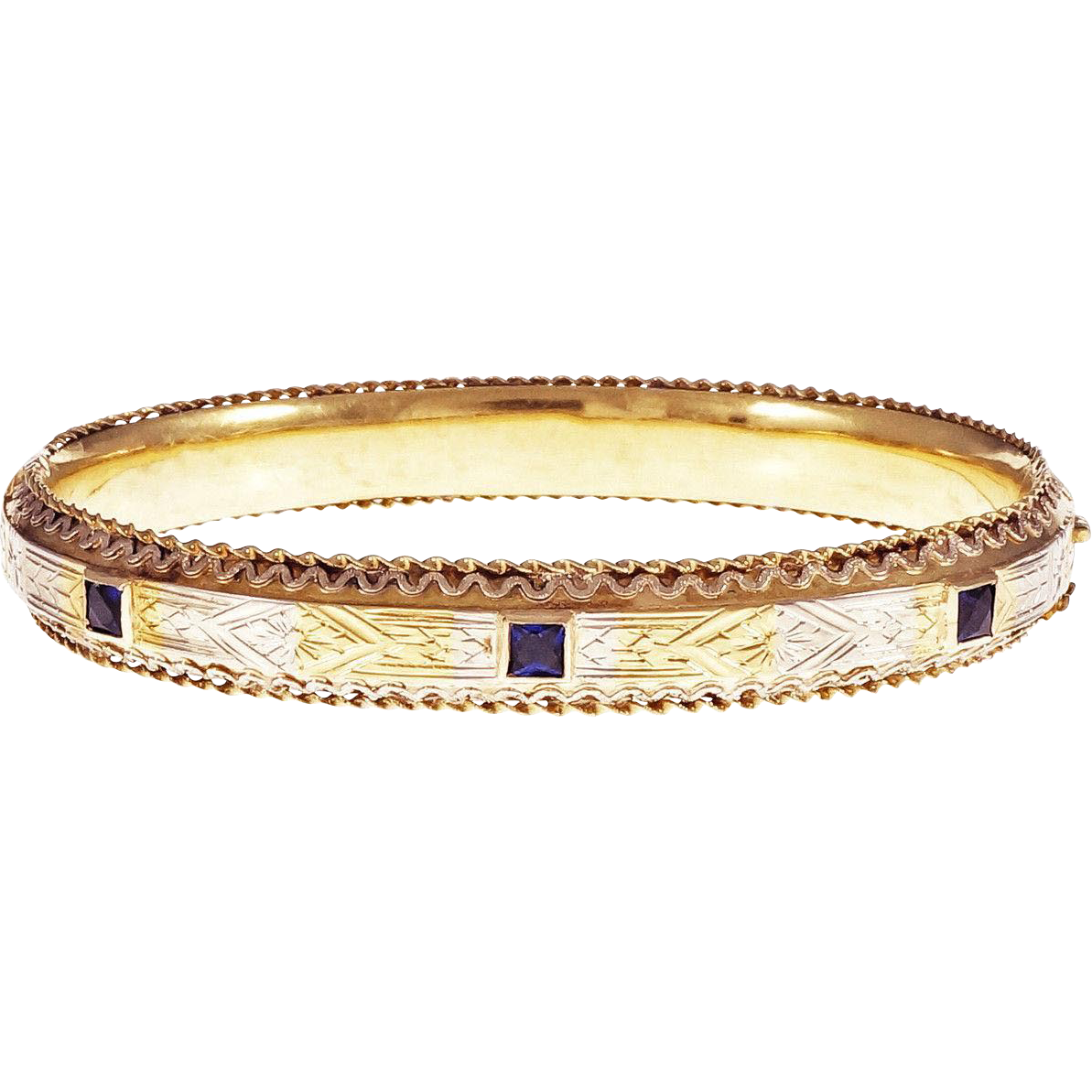 Art Deco Natural Sapphires 18 Karat Yellow White Gold Bangle Bracelet