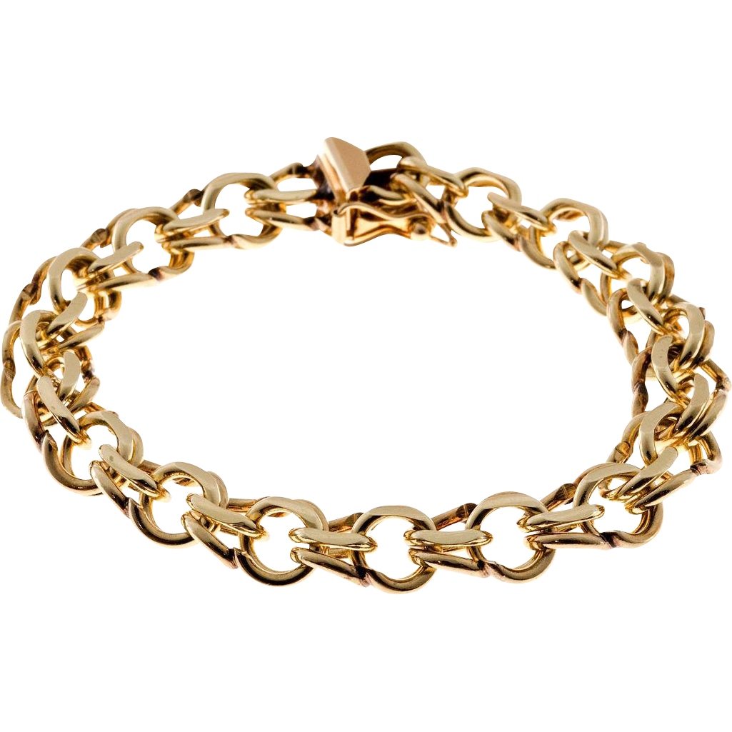 Heavy 14 Karat Yellow Gold Double Spiral Link Bracelet