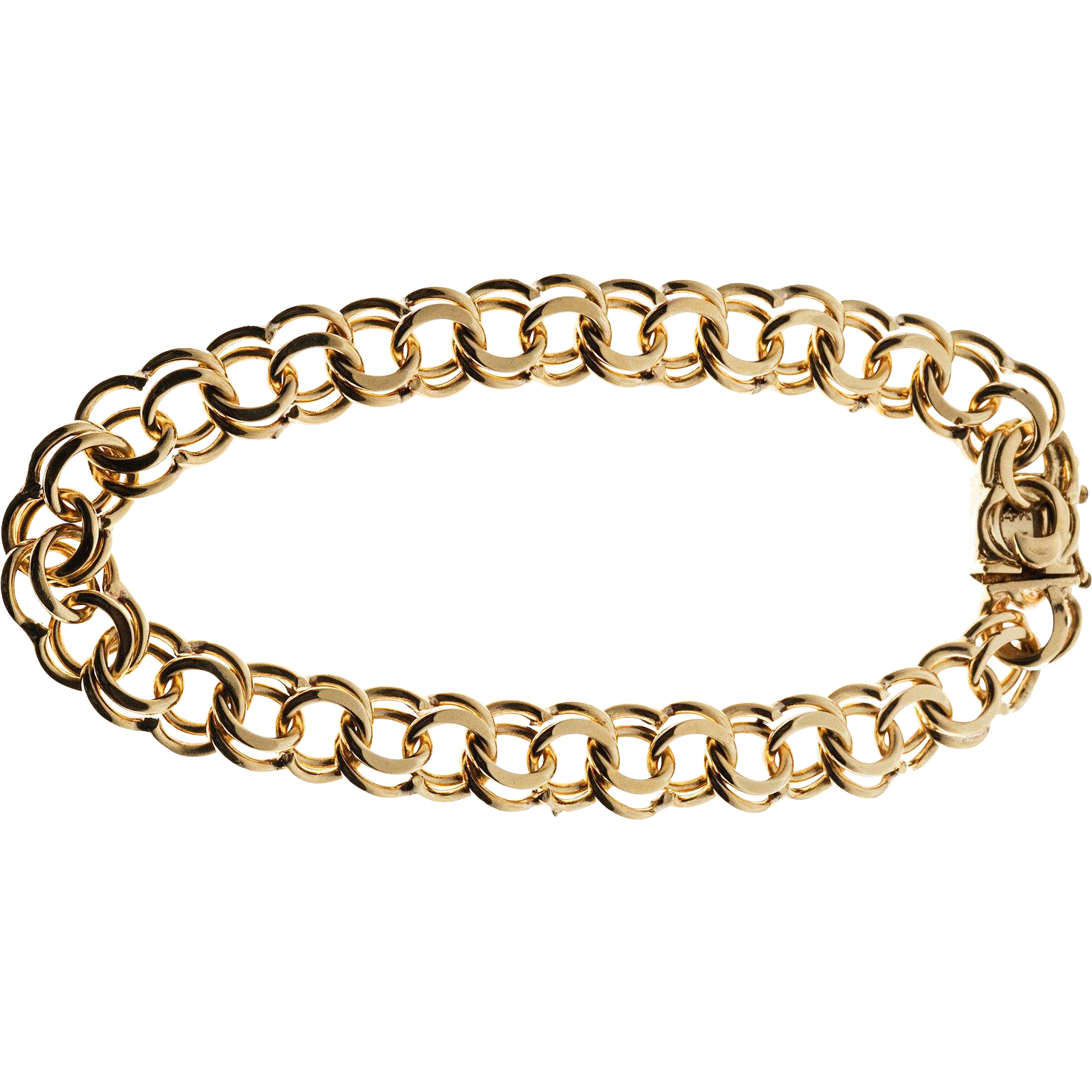 Vintage 14 Karat Yellow Gold Double Spiral Heavy Link Charm Bracelet