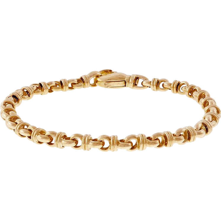 Italian 18 Karat Yellow Gold Fancy Link Bracelet