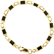 Onyx 14 Karat Yellow Gold Horseshoe Link Bracelet