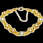 Art Nouveau 14 Karat Yellow Gold Blue Zircon Bracelet