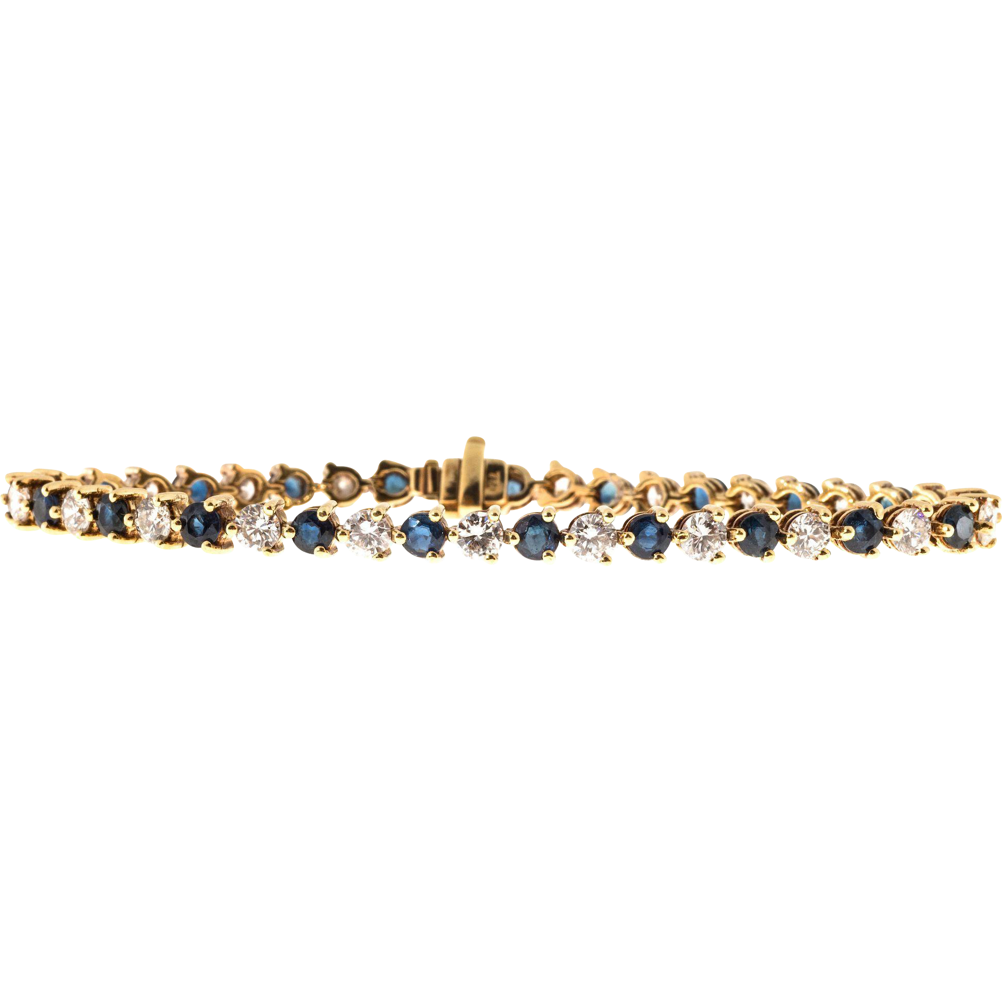 Diamond Sapphire 18 Karat Yellow Gold Hinged Link Bracelet